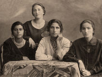 Gypsy family. A vintage photo portrait from 1914 of Gypsy family stock images