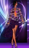 Gypsy Fashion on Purple Abstract. A purple, blue and white abstract background is the entrance for this fashion girl to walk the runway in the latest gypsy Stock Images