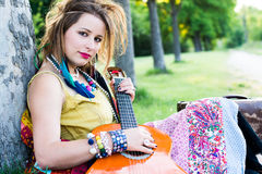 Gypsy Festival Performer with Guitar Royalty Free Stock Images