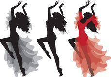 Gypsy Flamenco Dance Silhouette Set Royalty Free Stock Images
