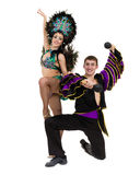 Gypsy flamenco dancer couple dancing against isolated white background Stock Photos