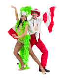 Gypsy flamenco dancer couple dancing against isolated white background Royalty Free Stock Photo