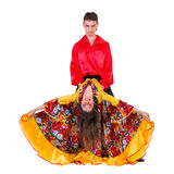 Gypsy flamenco dancer couple. Isolated on white in full length Stock Photos