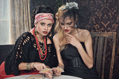Gypsy fortune-teller cards spells royalty free stock image