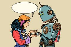 Gypsy fortune teller and robot. Palmistry royalty free illustration