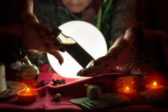 Free Gypsy Fortune Teller Woman Showing Bottle With Potion Royalty Free Stock Image - 95151416