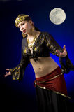 Gypsy and Full Moon Royalty Free Stock Photo