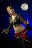 Gypsy and Full Moon Royalty Free Stock Photo