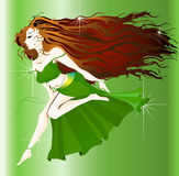 Gypsy girl. Picture represents a Gypsy girl in green dress dancing stock illustration