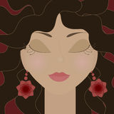 Gypsy girl. With closed eyes and red flowers earrings. No mesh and transparency used. Gradient used. Objects grouped and named in English vector illustration