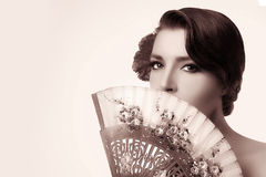 Gypsy Girl. Beauty Fashion Andalusian Woman with Stylish Fan Stock Photography
