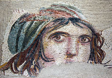 Gypsy Girl, a Byzantine mosaic in the interior of  Stock Images