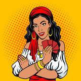 Gypsy girl fortune teller pop art style vector. Gypsy girl fortune teller pop art retro vector illustration. Comic book style imitation Royalty Free Stock Photos