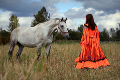 Gypsy girl with a grey horse. A gypsy-dressed girl interacts with a grey horse in a field Stock Images