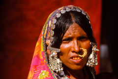 Gypsy lady at Camel fair, Jaisalmer, India Stock Images