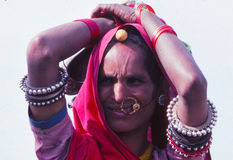 Gypsy lady at Camel fair, Jaisalmer, India Royalty Free Stock Photos