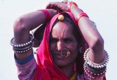 Gypsy lady at Camel fair, Jaisalmer, India royalty free stock photos