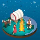 Gypsy Overnight Stay Isometric Composition royalty free illustration
