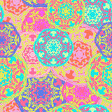 Gypsy seamless pattern of abstract multicolored round mandalas. Ethnic background Stock Image