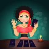 Gypsy with tarot stock illustration