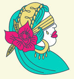 Gypsy Tattoo. A tattoo style gypsy head illustration with a rose Royalty Free Stock Photos