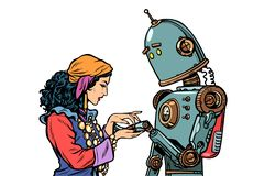 A Gypsy telling fortunes by the hand. The robot wants to know ab. Out love. Pop art retro vector illustration kitsch vintage vector illustration