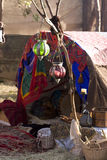 Gypsy Tent. A Gypsy Tent Draped In Fabric With Lanterns and Baskets At The Entrance Stock Photo