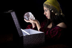Gypsy with Treasure Chest Stock Photography