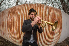 Gypsy Trumpet Musician Royalty Free Stock Photography