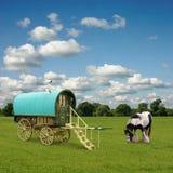 Gypsy Wagon, Caravan. Old Gypsy Caravan, Trailer, Wagon with Horse stock photography