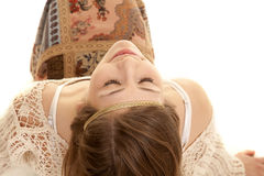 Gypsy woma back lean head eyes closed Royalty Free Stock Photography