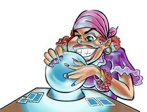 A gypsy woman. Looking in the crystal ball Royalty Free Stock Photos