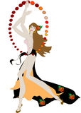 Gypsy woman. To dance to the music.Vector illustration stock illustration