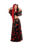 Gypsy woman in a black skirt. Isolated Royalty Free Stock Photo