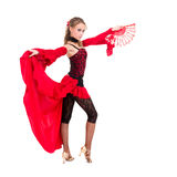 Gypsy woman dancing with fan Royalty Free Stock Photos