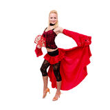 Gypsy woman dancing with fan Royalty Free Stock Image