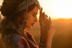 Gypsy woman in a desert Stock Photography