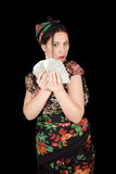 Gypsy woman with fan of cards Stock Image