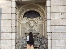 Gypsy Woman at Fountain Stock Images
