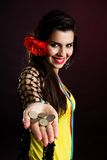 Gypsy woman offer money Stock Photos