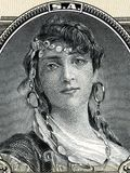 Gypsy woman portrait. From old Mexican money royalty free stock photo