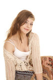 Gypsy woman sit close smile Stock Photos