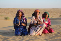 Gypsy women dancing and singing in the Desert, Rajasthan, India Stock Photography