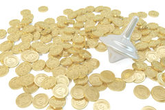 Gyro and gold. Gyro fall in the mirror, the concept of financial capital stock image
