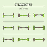 Gyro scooter line icons set Royalty Free Stock Images