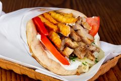 Gyros with chicken royalty free stock photography