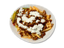 Gyros and Fries. A plate full of spicy gyros and fries Stock Images