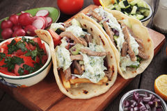 Gyros, greek pita bread wrapped sandwich Stock Images