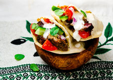 Gyros ,the Greek sandwich  in a flat cake pita Royalty Free Stock Photography