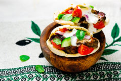 Gyros ,the Greek sandwich  in a flat cake pita Stock Photography